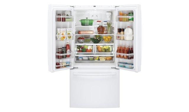 Refrigerateur Ge Gwe19jglww A Profondeur De Comptoir De 18 6 Pi3 Avec Porte A Deux Battants Blanc Refrigerateurs A Portes Francaises Accent Meubles